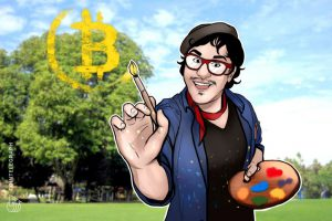 illustration of Matt Kane painting the Bitcoin logo